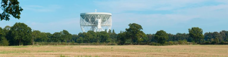 Jodrell Bank radio telescope panoramic photograph