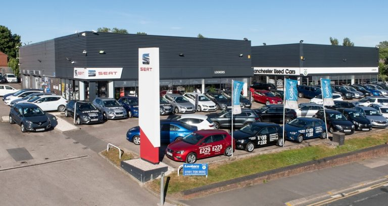 Mast aeriel picture of car show room Manchester