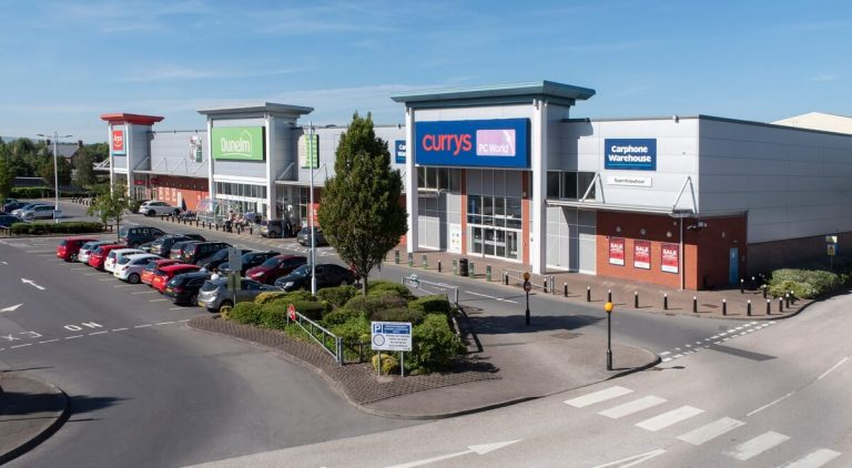 Retail park photography aerial Manchester mast photo